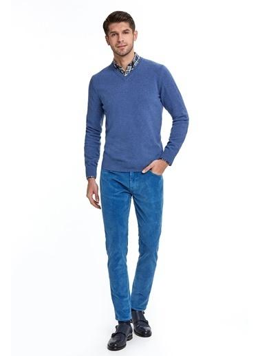 Hemington V Yaka Orta Mavi Yün Kazak Mavi